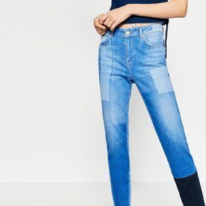 "Zara I Am Nona NYC 9.5"" High Rise Patchwork Jeans"